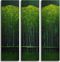 Omax Decor Aspens on Evening Lake 3-Piece Canvas Wall Art - 36W x 40H in. - M 2082
