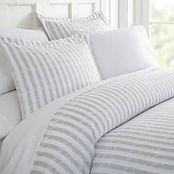 Noble Linens Puffed Rugged Stripes Duvet Set by Noble Linens Light Gray - NL-DUV-RUG-QUEEN-LGRAY