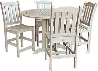 highwood Hamilton Recycled Plastic 5 Piece Square Counter Height Adirondack Patio Dining Set
