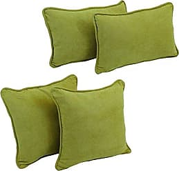 Blazing Needles 9819-S4-CD-MS-ML Double-Corded Solid Microsuede Throw Pillows with Inserts, Mojito Lime, Set of 4