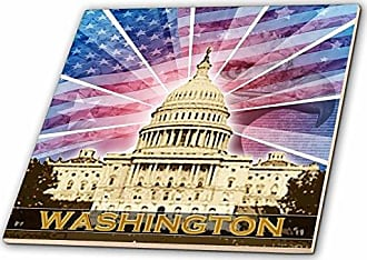 3D Rose ct_19413_1 Washington DC Patriotic American Flag with Bald Eagle and Capitol Building Ceramic Tile, 4-Inch