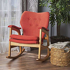 Christopher Knight Home 301991 Bethany Mid Century Fabric Rocking Chair (Muted Orange), Light Walnut