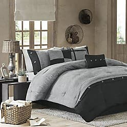 Madison Park Boone Cal King Size Bed Comforter Set Bed in A Bag - Grey, Textured Print - 7 Pieces Bedding Sets - Micro Suede Bedroom Comforters