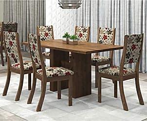 Viero Conjunto Sala de Jantar Mesa Avenida e 6 Cadeiras Kiara Viero Grigio/Passion