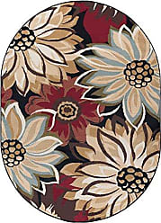 Tayse Odessa Transitional Floral Black Oval Area Rug, 5 x 7 Oval