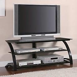 Coaster Fine Furniture Sleek Black Metal TV Stand with Glass Shelves - 700664