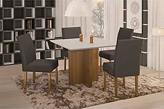 Siena Móveis Conjunto Sala de Jantar em Madeira Maciça Mesa Pérola 4 Cadeiras Lara Siena Móveis Imbuia Natural/Suede 68
