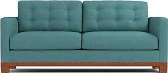 Apt2B Logan Drive Queen Size Sleeper Sofa - Leg Finish: Pecan - Sleeper Option: Deluxe Innerspring Mattress - Teal Poly Blend - Sold by Apt2B - Modern