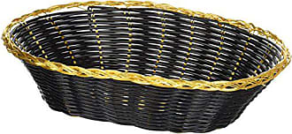 Winco USA Winco PWBK-9V Oval Woven Basket, 8.13-Inch by 8.13-Inch by 2-5/8-Inch, Black with Gold Trim