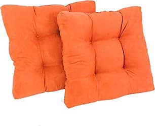 Blazing Needles Microsuede Square Tufted Dining Chair Cushions (Set of 2), 19, Tangerine Dream