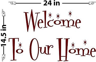 The Decal Guru Welcome to Our Home Vintage Wall Decal (Burgundy, 14.5 (H) X 24 (W))