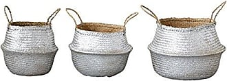 Creative Co-op Set of 3 Silver Collapsible Seagrass Handles Basket Set
