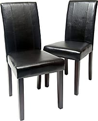 Round Hill Furniture Urban Style Solid Wood Leatherette Padded Parson Chair, Black, Set of 2