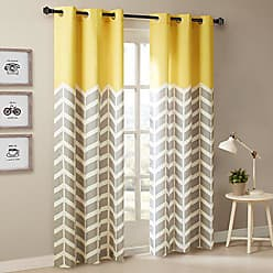 INTELLIGENT DESIGN Yellow in Grey Chevron Printed Curtains for Living Room or Bedroom, Modern Contemporary Grommet Room Darkening Curtains, 42x84, 2-panel pack