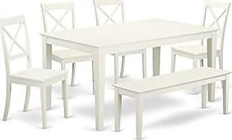 East West Furniture CABO6-LWH-W Capri Set, Linen White