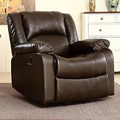 Overstock Belleze Rocker and Swivel Glider Recliner Chair Faux Leather for Living Room (Brown)