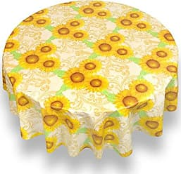 Sweet Home Collection Premium Flannel Back Tablecloth Oblong Rectangle Square Round Heavy Restaurant Quality Vinyl Spill Repellent Table Cover, 60, Sunflower