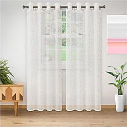 Home City Inc. Superior Quality Lightweight Embroidered Delicate Flower Sheer Stainless Grommets Window Treatment Curtain Panel (Set of 2) 52 x 108 - Champagne