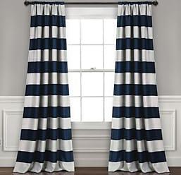 Lush Décor Stripe Blackout Window Curtain Set - Navy - Size:52X95