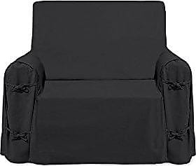 anthracite Soleil dOcre PANAMA cotton armchair cover