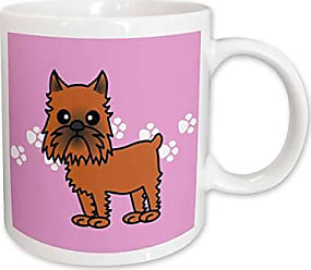 3D Rose 31202_1 Cute Brussels Griffon Cropped Ears Pink with Pawprints-Ceramic Mug 11 oz Multicolored