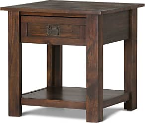 Simpli Home Monroe Solid Acacia End Table in Distressed Charcoal Brown