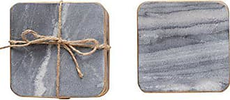 Creative Co-op Set of 4 Grey Marble Coasters with Gold Edges