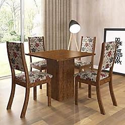 Viero Conjunto Sala de Jantar Mesa e 4 Cadeiras Caju Viero Avelã/Passion