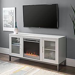 Walker Edison WE Furniture 52 Avenue Wood Fireplace TV Console with Metal Legs - White