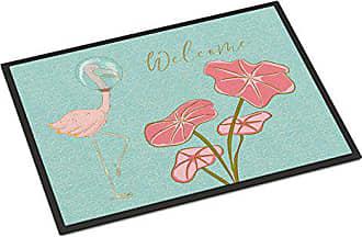 Multicolor Carolines Treasures Dragonfly on Pink Indoor or Outdoor Mat 18 x 27