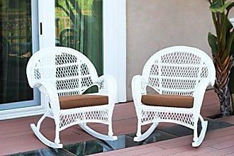 Jeco W00209-R_2-FS007-CS Wicker Rocker Chair with Brown Cushion, Set of 2, White