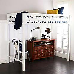 Walker Edison WE Furniture Premium Twin Metal Loft Bed, White