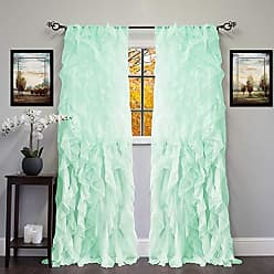 Sweet Home Collection 2 Pack Window Panel Sheer Voile Vertical Ruffled Waterfall Curtains, 96 x 50, Mint