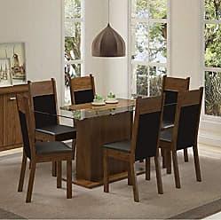 Madesa Conjunto Sala de Jantar Mesa 6 Cadeiras Atlanta Madesa Rustic/Preto