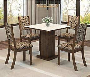 Viero Conjunto Sala de Jantar Mesa Quadrada Tampo MDF Luana 4 Cadeiras Kiara Viero Grigio/Medina/Vidro Branco