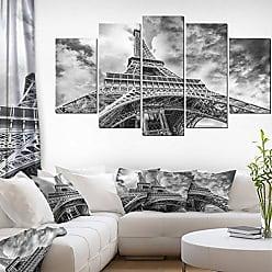 DESIGN ART Designart Black and White View of Paris Eiffel Tower-Cityscape Canvas print-60x32 5 Piece-PT10160-373, 60x32-5 Panels Diamond Shape