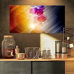 DESIGN ART Designart PT8093-32-16 Glowing Colored Spheres Abstract Digital Art Canvas Print, 32x16, Black