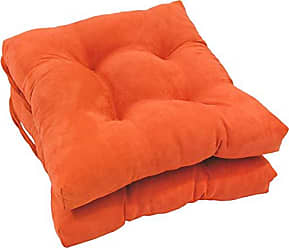 Blazing Needles Solid Microsuede Square Tufted Chair Cushions (Set of 2), 16, Tangerine Dream