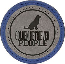 Pavilion Gift Company 67634 2.5 Inch Round Dog Refrigerator Magnet Golden Retriever People Blue