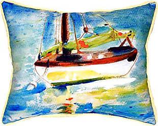 Betsy Drake SN274 Yellow Sailboat Pillow 11 x14