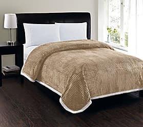 Elegant Comfort Best, Softest, Luxury Micro-Sherpa Blanket on Amazon! Heavy Weight Stripe Design Ultra Plush Blanket, King/Cal King, Beige