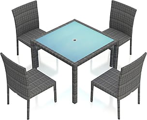 Harmonia Living Outdoor Harmonia Living District Wicker 5 Piece Square Patio Dining Set Canvas Charcoal - HL-DIS-TS-5DS-CC