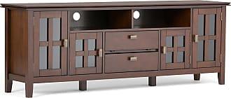 Simpli Home Artisan Solid Wood 72 TV Media Stand in Medium Auburn Brown