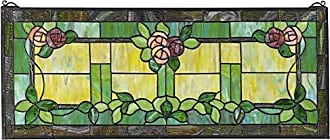 Design Toscano Rose Trellis Tiffany-Style Stained Glass Window, Full Color
