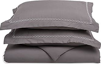 Superior Super Soft Light Weight, 100% Brushed Microfiber, Full/Queen, Wrinkle Resistant, Grey Duvet Cover Set with White Cloud Embroidered Pillowshams in Gift Box