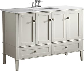 Simpli Home Chelsea 48 inch Bath Vanity in Off White with White Engineered Quartz Marble Top