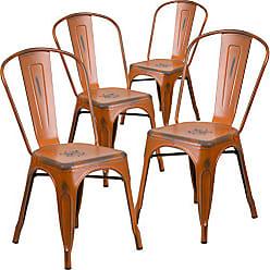 Flash Furniture 4 Pk. Distressed Orange Metal Indoor-Outdoor Stackable Chair