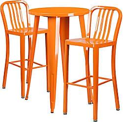 Flash Furniture 24 Round Orange Metal Indoor-Outdoor Bar Table Set with 2 Vertical Slat Back Stools