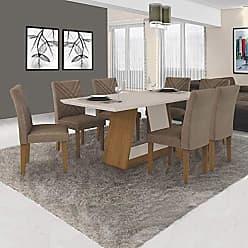 Leifer Conjunto de Mesa de Jantar com 6 Cadeiras Gênova Veludo Imbuia e Off White