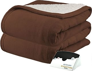Biddeford Comfort Knit Natural Sherpa Electric Heated Blanket